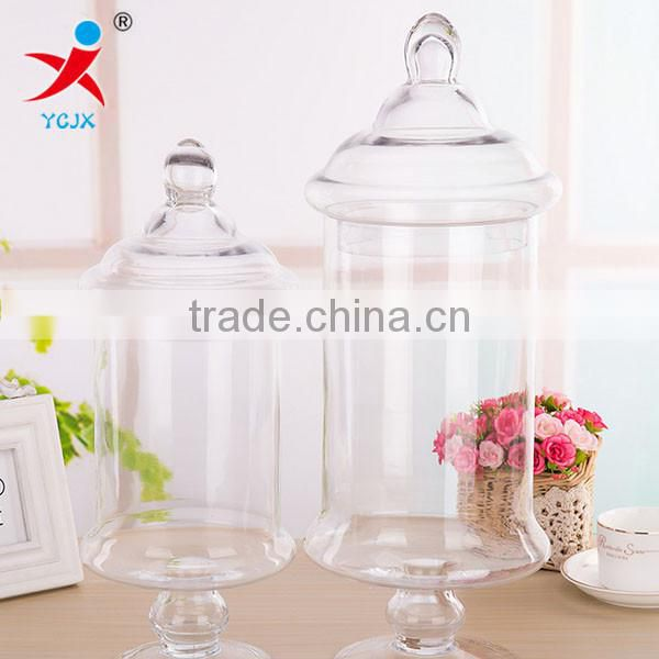Europe type transparent glass candy cans High candy jar, wedding wedding furnishing articles, receive tank