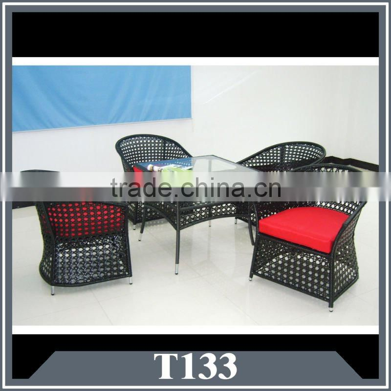 outdoor wicker coffee with 4 chairs