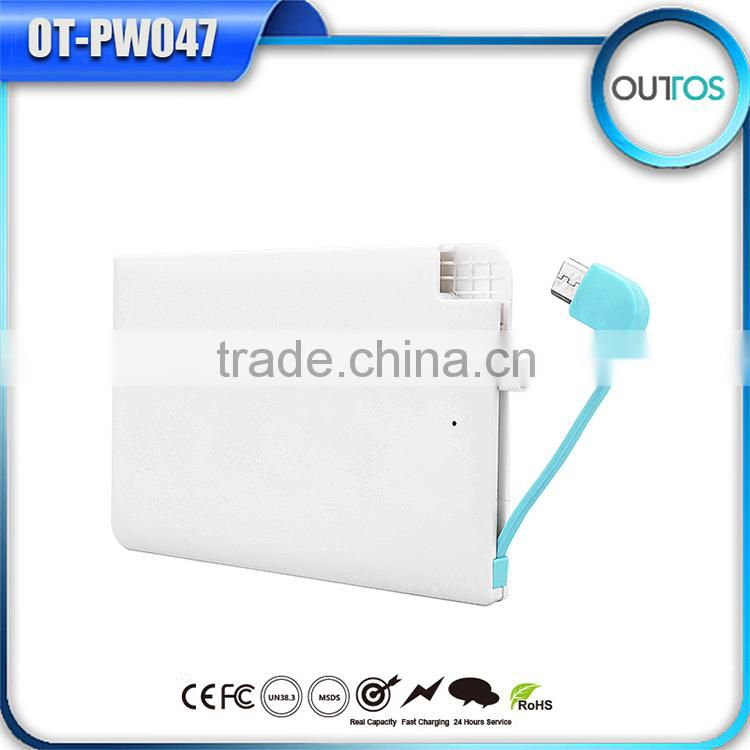 promotional universal phone charger ultra thin name card power bank 2500mah