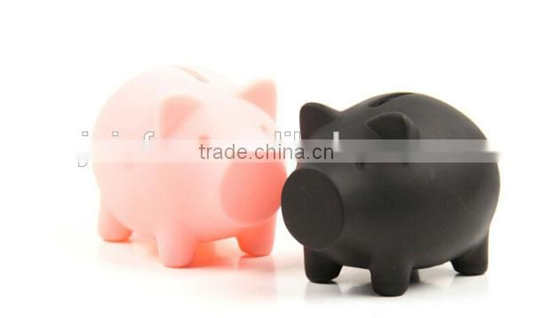 OEM plastic pink piggy bank, 3d cartoon pink pig piggy bank, Pig shaped plastic piggy bank money box