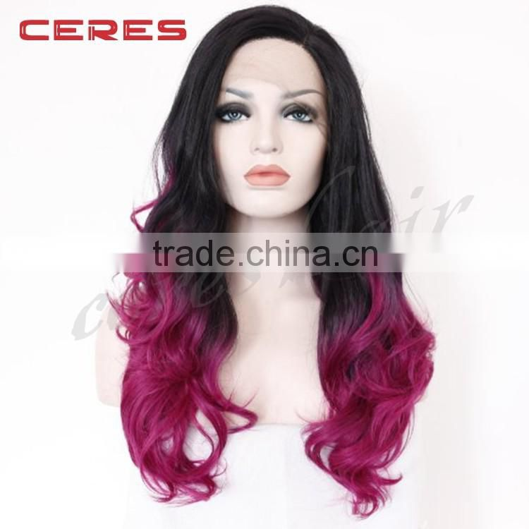new arrival 18inch straight black ombre to rose color two tone human hair wig for women