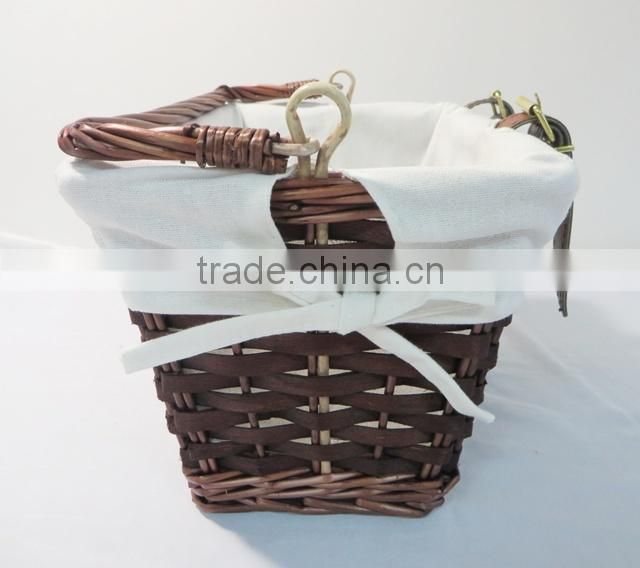 Hand woven wood chips cheap bike basket with handle