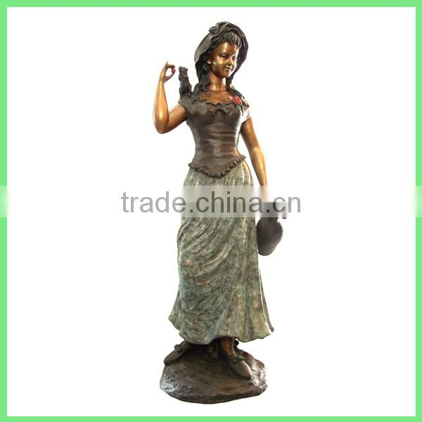 bronze lady statue water fountain for outdoor decoration