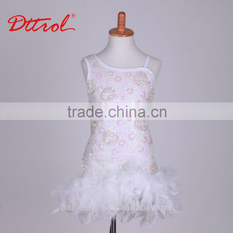 D0032001 Feather kids clothes girls beautiful model dresses party