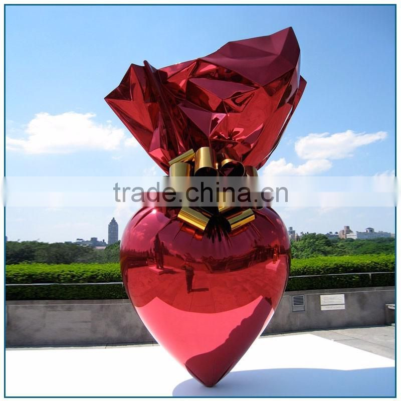 Park Theme Large Polished Pink Stainless Steel Candy Sculpture