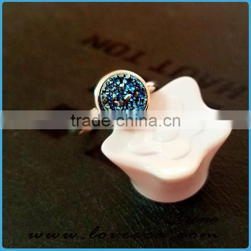 Fashion Jewelry Gemstone Druzy Adjustable Rings Natural Agate Drusy 925 Sterling Silver Rings