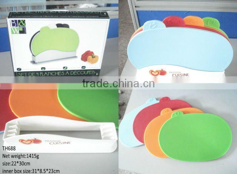 As Seen On TV cheap Cutting Board Set 4pcs Index cutting board With Holder semicircle
