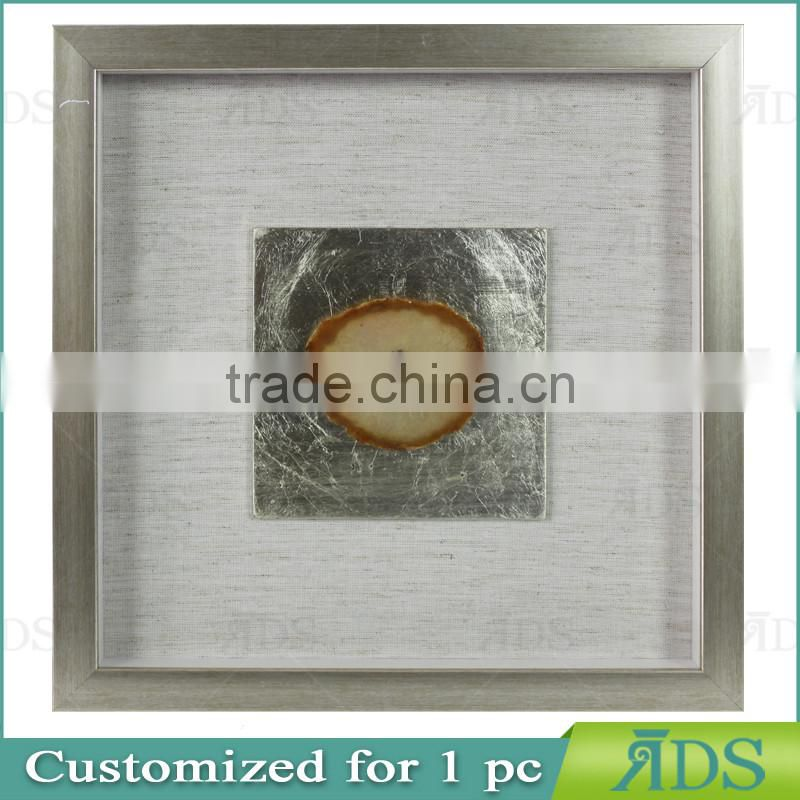 Silver Wall Shadow Boxes with Colorful Natutal Agate Under Glass