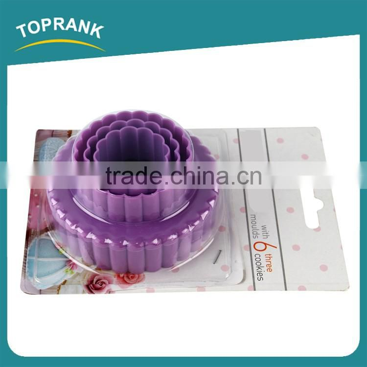 Toprank Custom Logo Printed Set Of 3 Flower Shaped Cookie Cutter Plastic Biscuit Cookie Cutter