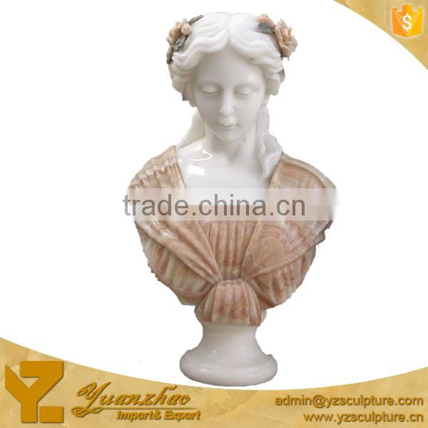 life size carved lady stone bust sculpture for garden decoration
