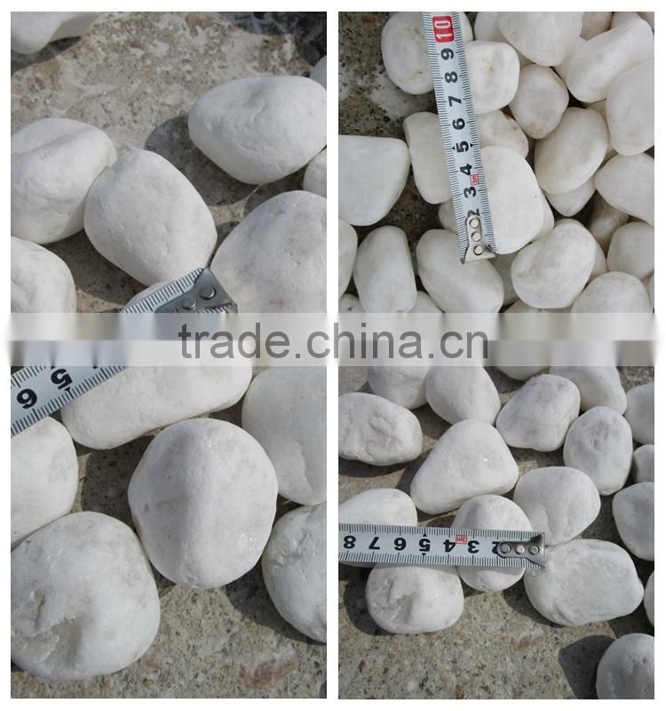 Tumbled Snow White Pebble Stone for Landscaping Paving