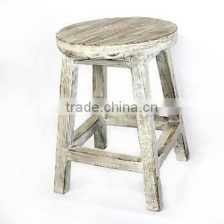 Rustic White Wooden Bar Stool