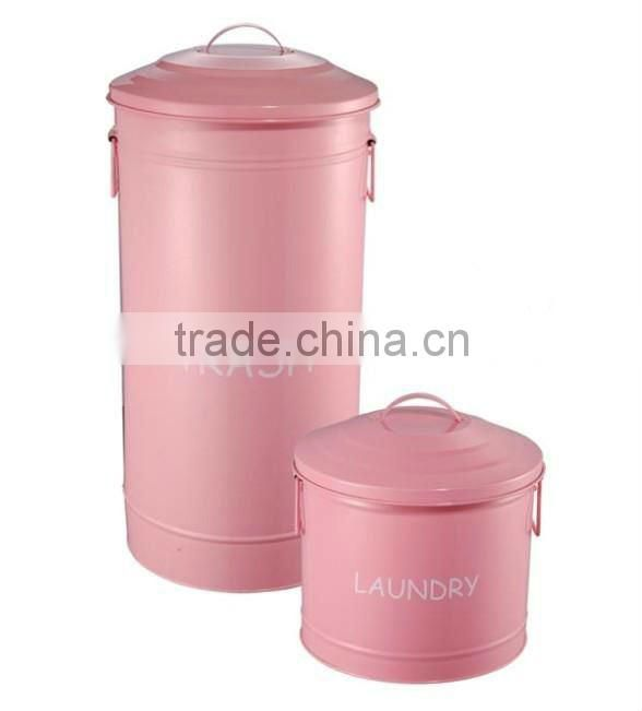 Pink Trash Bin Laundry Box Set of 2