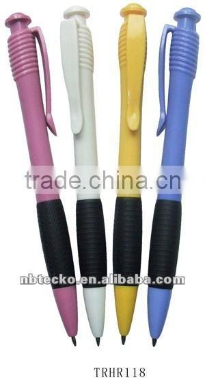 Promotional beautiful plastic ball point pen with lovely clip