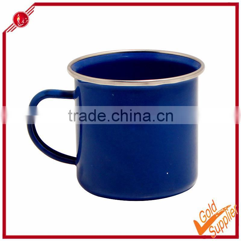 Blue enamel mug with stainless steel rim mug for sublimation