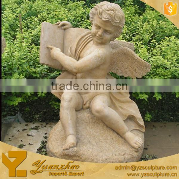 yellow stone reading book boy nude angel statues for garden decoration
