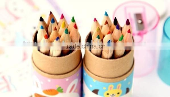 Japanese and Korean 12 colors non-toxic raw wood color pencils