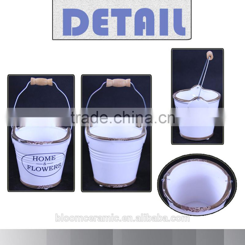 Wholesale custom ceramic pail with metal handle for garden