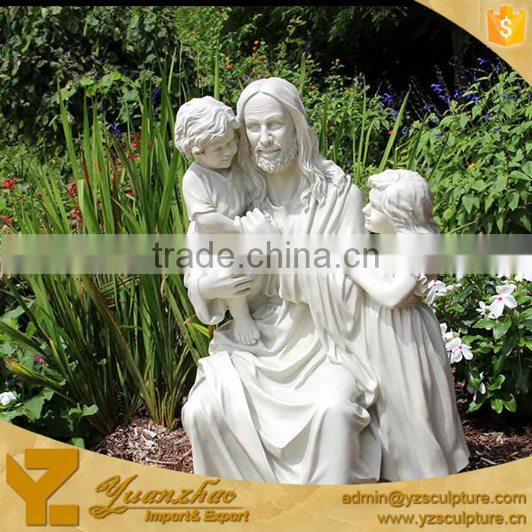 White marble religious life size Jesus with children Statue (RST007)