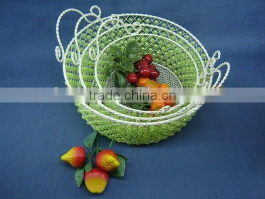Round wire decorative with green pearl fruit handle basket
