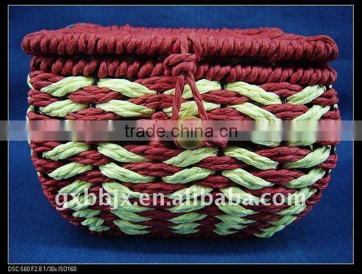 Red square paper rope woven iron frame present storage box