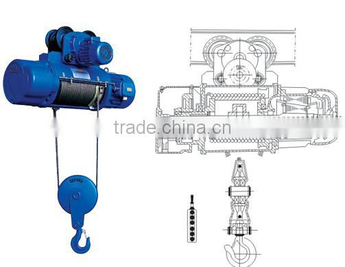 lifting equipment running CD-1 MD-1 2ton Electric wire rope hoist machine