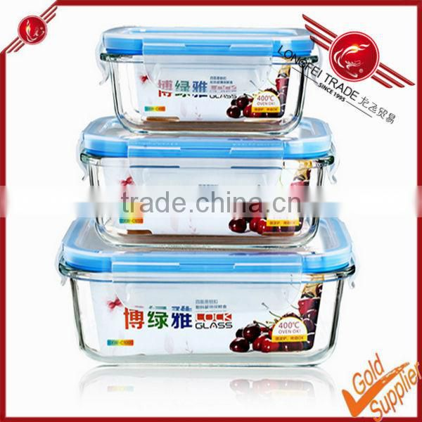 3 pieces heat resistant PP lid high borosilicate glass crisper box