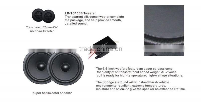 "Small order area Hot Selling 6-1/2"" inch component car speaker tweeter woofer speaker"