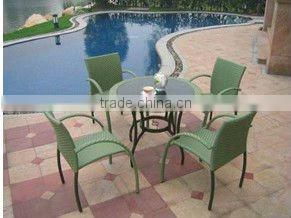 Simple rattan table and chairs