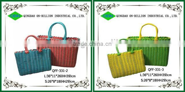 Cheap woven colorful beach bag