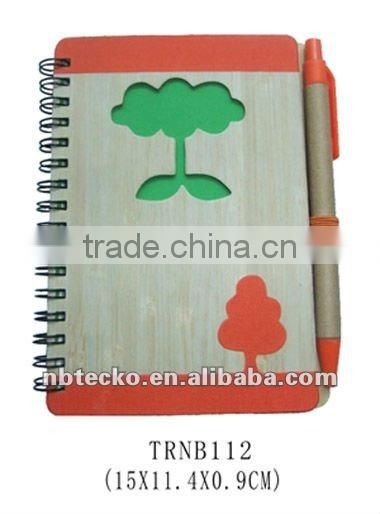 cute bamboo cover recycled note book with recycled ball pen