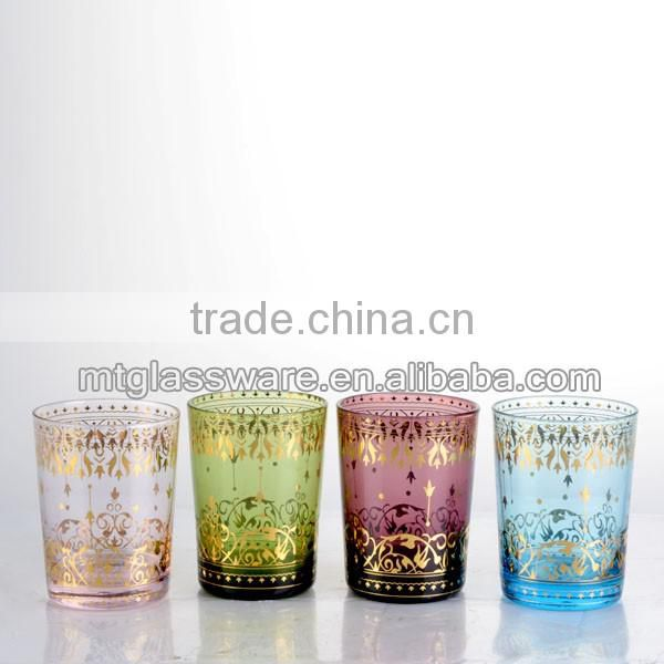 colorful gold flower design water cup