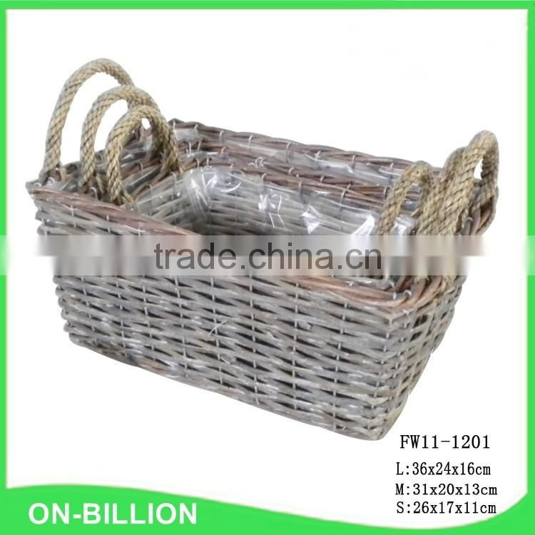 Cheap grey wicker basket with plastic insert for storage