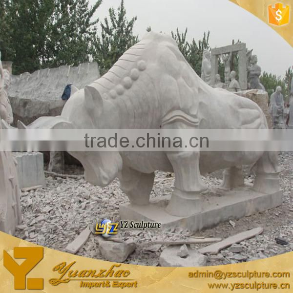 outdoor antique large White Marble Bull Animal Sculpture