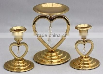 rose gold plated metal fancy candle holder