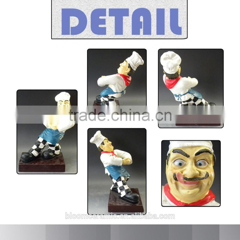 Polyresin chef for wine bottle figurines