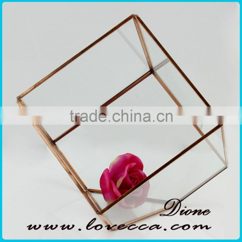 Clear geometrical terrarium glass hanging for indoor plant holder
