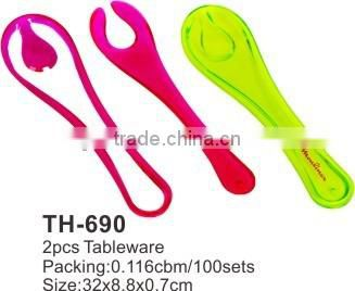 Plastic salad fork and spoon set