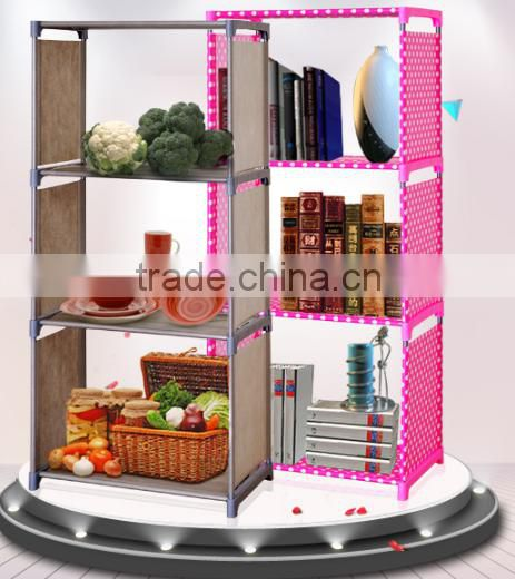 Hot sale movable folding non-woven fabric round bookshelf