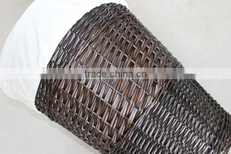 Woven wicker material dark brown laundry basket