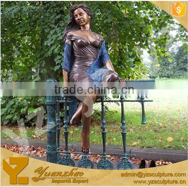garden decoration cast Bronze Nude Life Size Standing Lady Sculpture