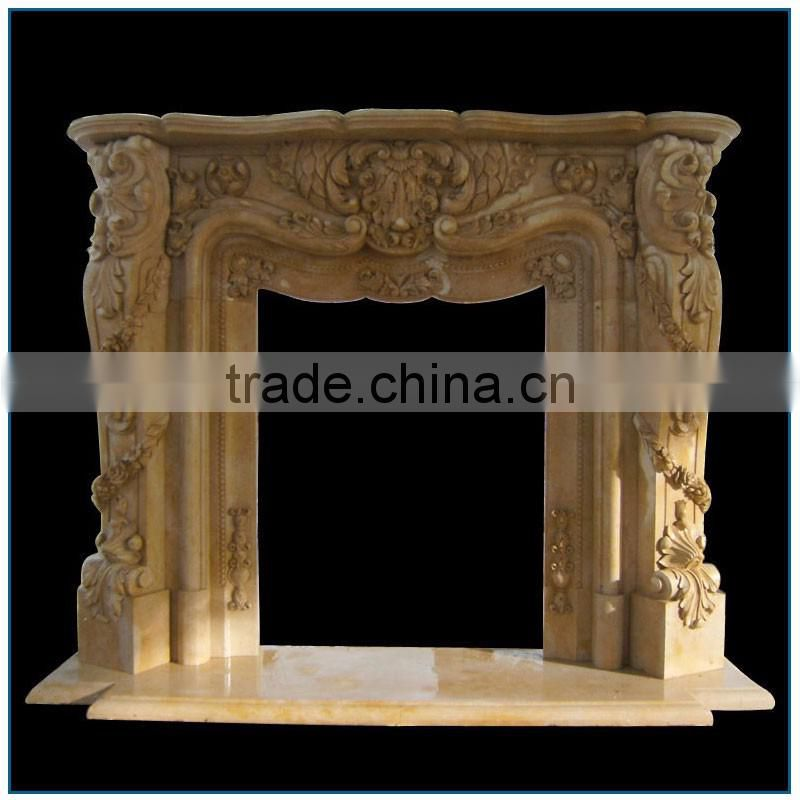 Indoor Hand Carved Cream Marble Fireplace Mantel with Gorgeous Flowers