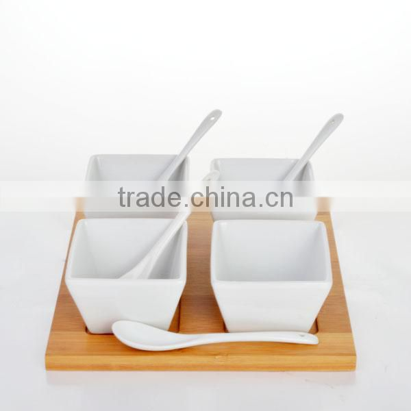Set of 4 Elegant China appetizers bowl made by white ceramic porcelain with wooden tray