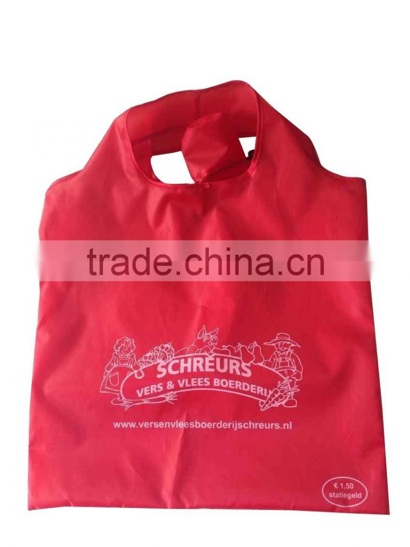 heart shape promotional reusable polyester foldable bag