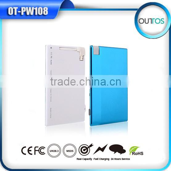 Wholesale 1500mah pocket power bank credit card with Build-in Micro USB cable