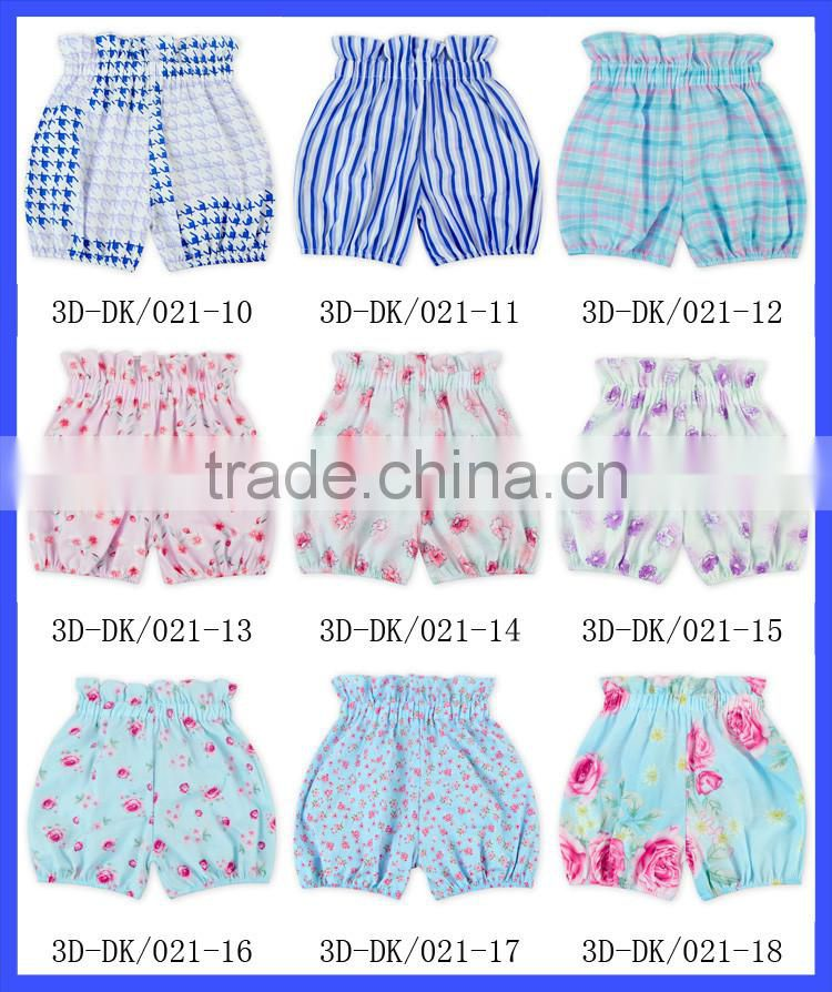 2016 newborn baby girl clothes sweet floral print high wasit candy bubble summer shorts