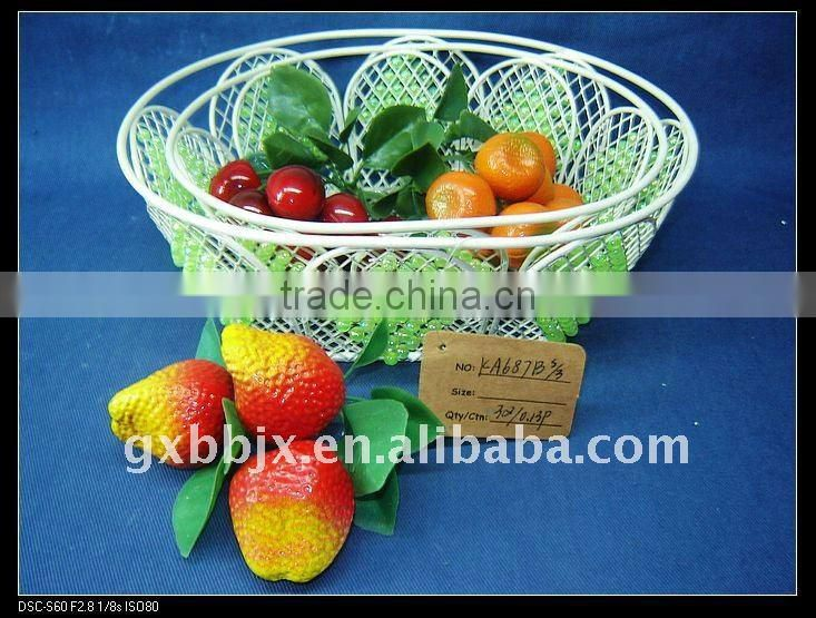 Egg shaped creamywhite decorative with green pearl storage fruit basket mill