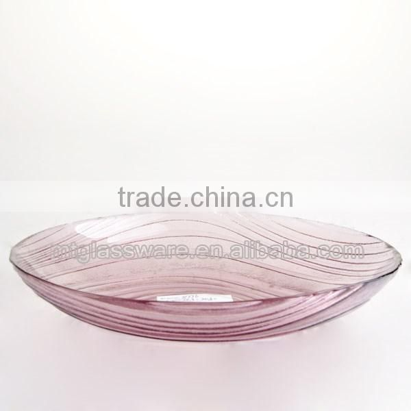 cheap gold flower glass dishes charger plates