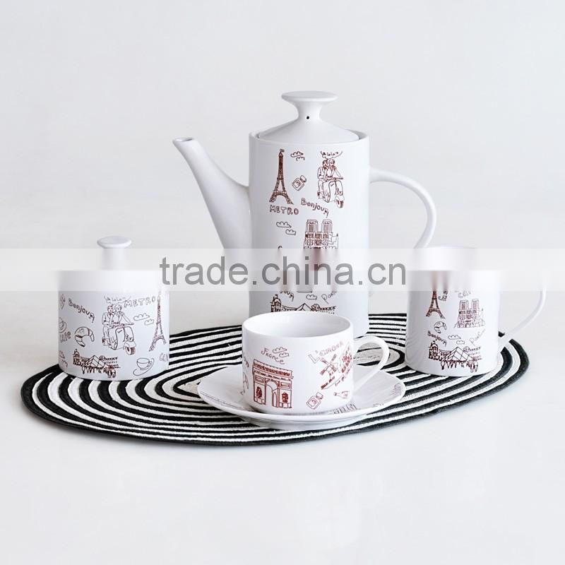 17PCS COFFEE SET,PORCELAIN WITH DECAL