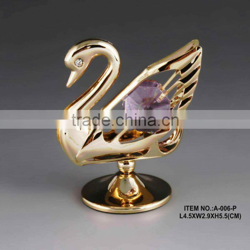 24K gold plated tabletop love swan decoration with crystals from swarovski